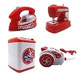 HorBous Lavatrice Macchina da Cucire sottovuoto Ferro Ferro Imitazione Giocattolo Kit Elettrodomestici per Bambini Set da 4 Pezzi