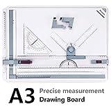 A3 Planche à Dessin, Preciva Drawing Board Metric System 51 x 36.5 cm Table à Dessin avec Mouvement Parallèle, Angle Réglable