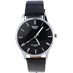Tonsee Fashion Classic Men's Roman Number Quartz Electronic Leather Wrist Watch