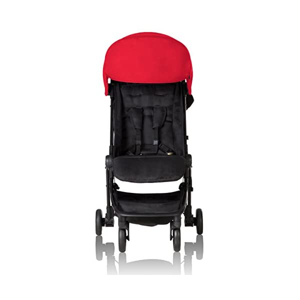 """Mountain Buggy Nano V2-5, Ruby Red Mountain Buggy Infant car seat ready, no need to purchase additional adapters and now has a soft shell cocoon carrycot available (sold separately) for new-borns New, narrower compact size at just 12"""" x 22"""" x 20"""" (folded) with 44 lb. weight capacity and suitable for children up to 4 years Easy two-step, compact fold 12"""