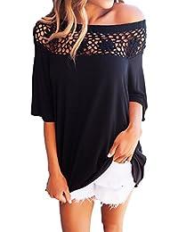 Legendaryman Verano Mujer Blusa Moda Sudadera Cuello Barco Media Manga Camisetas Largas Tops Casual Pullover Suelto