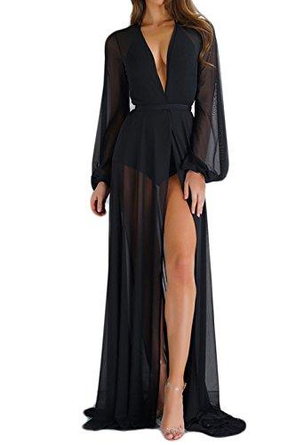 Zamtapary Damen Strandkleider Cover up Kimono Schlichtes Leichtgewicht Lange Strickjacke Bikini Pareos Kleider schwarz S
