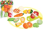 Popsugar - TH611B 10pcs Sliceable Vegetables Gift Set with Cutting Board and Knife Toy for Kids, Multicolor