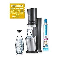 SodaStream Crystal 2.0 Wassersprudler inkl. 1 Zylinder und 2 Glaskaraffen 0, 6l Farbe: Titan Trinkwassersprudler, Gebürsteter Stahl, Silber, 22 x 11 x 42 cm