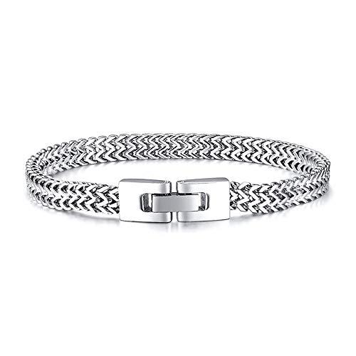 DZBMY Herren Armband Edelstahl Kiel Kette Armband Stahl Farbe Herrenschmuck 21cm Tolles Geschenk für Männer mit KOSTENLOSER Geschenkbox