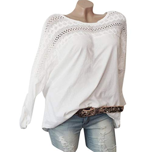 iHENGH Damen Top Bluse Lässig Mode T-Shirt Frühling Sommer Frauen Bequem Blusen Coole Langarm Spitze Splice Patchwork Baumwolle ()