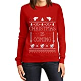Christmas Is Coming Ugly Christmas Felpa da Donna Small Rosso