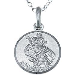 Petit Pendentif Saint-Christophe en Argent Sterling avec Chaîne de 45,7cm et Coffret Cadeau