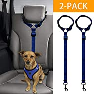 Docamor Adjustable Dog Seat Belt Dog Harness Pet Car Vehicle Seat Belt Pet Safety Leash Leads Dogs/Cats Adjustable From 18 To 30 Inch Nylon Fabric Material Carnation (Blue)