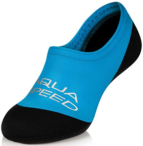 Aqua Speed Kinder Schwimmsocken I Neoprensocken Anti-Rutsch | Neopren Badesocken für Kleinkind I Baby Aqua Socken I Strandsocken I Swim Socks Kids Boys I Beach I Blau; Gr. 20/21 I Neo