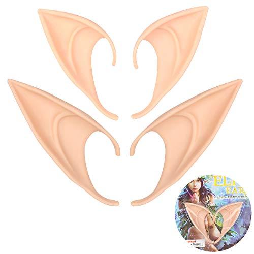 KQueenStar Elfenohren - 2 Paar Halloween Elf Ears Spitze Ohren Lang Latex Elf Ohren Für Erwachsene Karneval Party Fasching Cosplay