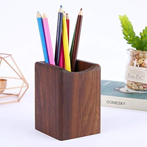 1 Pcs Pen Rack Multifunktionale Quadratische Nussbaum Make-up Pinsel Storekreative Büro Schule Desktop-speicher braun