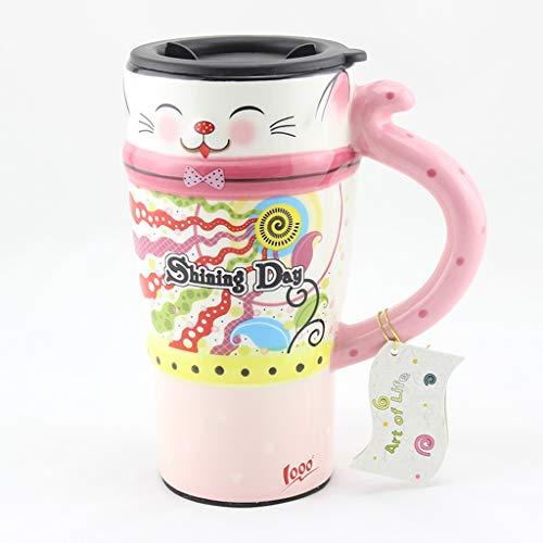 CJH Tasse De Chat Peint Tasse Avec Un Couvercle Avec Une Cuillère Tasse À Café En Céramique Couple Créatif Tasse Rose