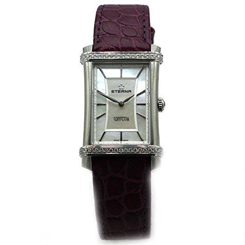 Eterna Contessa cuarzo ETA 901.001correa de piel lila Mujer Reloj Luxus 2410.48.66.1248