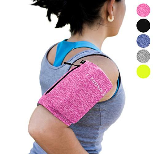 E Tronic Edge Handy Sportarmband | Handytasche Sport mit integrierten Kopfhörerlöchern für ALLE Handymodelle | Handy Sportarmband mit Reflektoren (XL, Pink) Pink-coach Armband