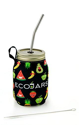 Smoothie to go Jar | Mason Entsaften Jar | Emoji | Emojis | schwarz | Wiederverwendbare Wasser Flasche | Sport portable | Glas | Fruit Sleeve Cosy Jacke | Cosy | Kilner | Edelstahl 304 Stroh Pinsel