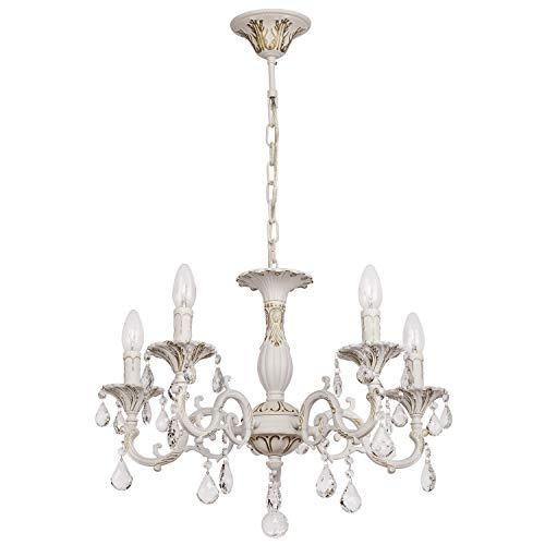 MW-Light - Lampadario Pendente Lussuoso in Metallo, Stile Classico, 5x60W E14, Bianco e Oro, Ø52 cm