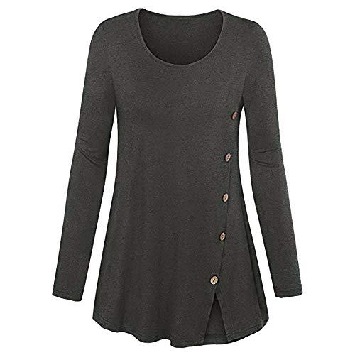 Zegeey Damen Plus Size Long Sleeve Print V-Neck Button Pullover Tops Shirt Bluse Langarm Karneval Fasching Fasnacht Cocktailkleider Partykleid(B4-Grau,EU-42/CN-2XL) 4 Womens Raglan Hoodie