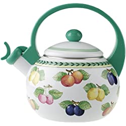 Villeroy & Boch French Garden Kitchen Teekessel/Induktionsgeeigneter Tee Wasserkocher mit Pfeife/1 x 2-Liter Teekessel mit Fruchtmotiv