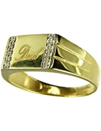 Ornami Glamour 9ct Yellow Gold Gents Diamond Set Dad Signet  Ring