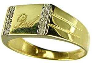 Kareco 0.05 Carat I3 Diamond Pave Setting Signet Ring in 9ct Yellow Gold