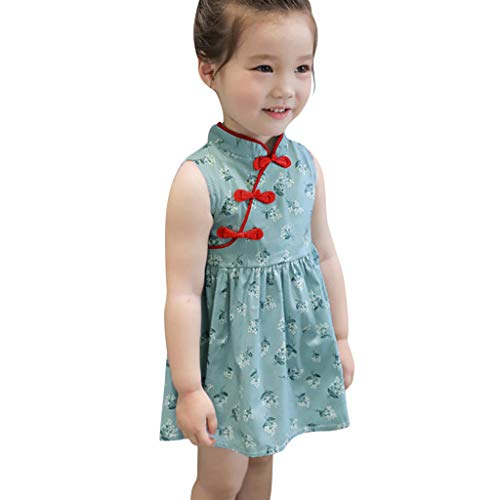 Livoral Baby Madchen Geschenke Kleinkind Kinder Baby Mädchen ärmellos Floral Cheongsam Party Prinzessin Kleid Outfits(Grün,100)