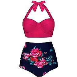 Angerella Mujer Retro Polka Punto Cintura Alta Traje de Baño Bikini (EU36-38=Tag Size M, Rosa)