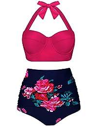 c5822df61620 Angerella Damen Retro Stil Polka-Punkt mit Hoher Taille Badeanzug Bikini Set
