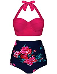 59536743925b Angerella Damen Retro Stil Polka-Punkt mit Hoher Taille Badeanzug Bikini Set