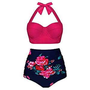 Angerella Damen Retro Stil Polka-Punkt mit Hoher Taille Badeanzug Bikini Set, Rosa, EU38-40=Tag Size L