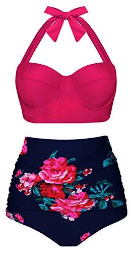 EasyMy Damen Vintage Blume Hoch Taillierte Push up Badeanzug Bikini Set. Gr.-UK16-18=Tag Size 3XL, Rosa