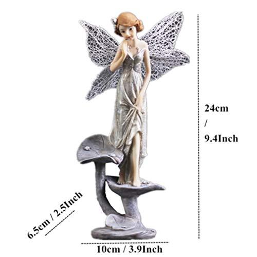 OYQQ Engelsskulptur der modernen feenhaften Statue des Kunstharzes derSkulpturenstatue3mit Retro- Hauptdekorationsgeschenken der Flügel, Engel auf Lotus