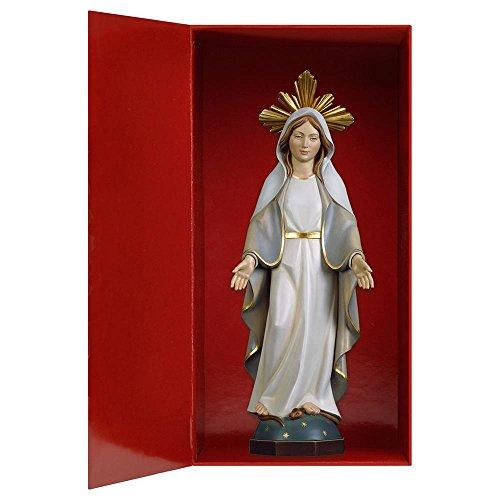 Design Echtholz Madonna Gnadenspenderin Modern mit Schein + Box, Heiligenfigur, 12cm, Color