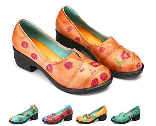 Gracosy Mocasines Zapatos Mujer Cuero Calzado Tacón