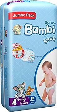 Sanita Bambi, Size 4+, Large+, 10-18 kg, Jumbo Pack, 58 Diapers