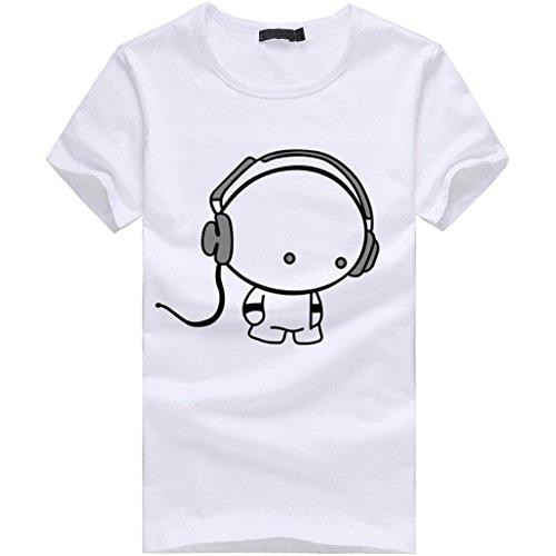 Elecenty Herren T-shirt Blusentop,Herrenhemden Poloshirt Kopfhörer Druck Kurzarmshirt Bluse Junge Tee T-Stücke Solide Männer Sommerhemd Tops Blusen Sweatshirt Hemd Pulli (L, Weiß)