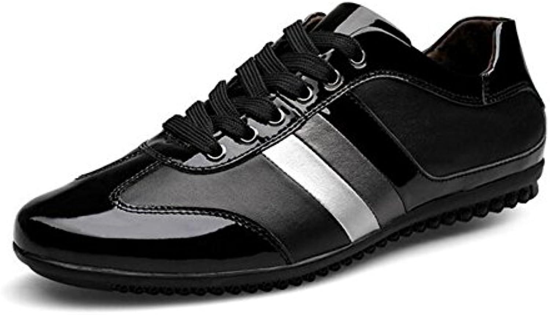 HUAN Nuevos Zapatos Casuales Para Hombre Low-Top Sneakers Zapatos con Cordones Zapatos de Cuero Confort Zapatos  -