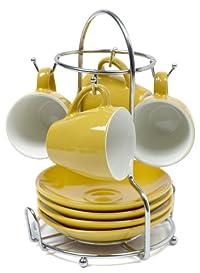 IMUSA, A120-22178, Espresso Set with Rack, 8 Piece, Yellow