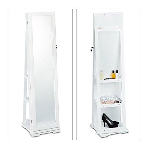 Relaxdays Schmuckschrank weiß mit Spiegel, XXL-Schmuckkasten abschließbar, Spiegelschrank zum Drehen HBT: 161x39,5x40cm - 2