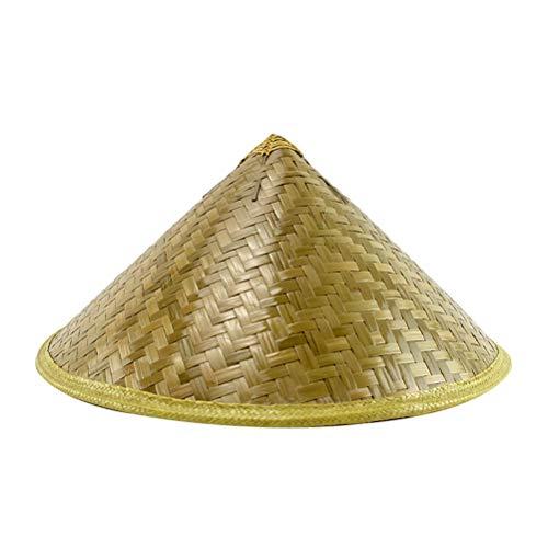 Vosarea 42x18cm Unisex Erwachsener Kuli Chinesischer Hut Konischer Asiatischer Hut Japanischer Stroh Sonnenreis Bambus Bauer Kostüm Lustige Partyhüte