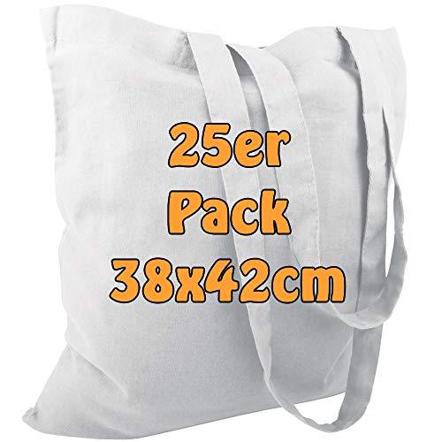 ltasche Jutebeutel unbedruckt mit Zwei Langen Henkeln 38x42cm (Weiß, 25 Stück) ()