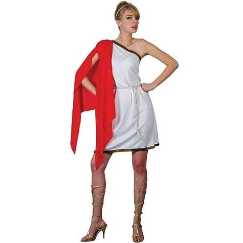 Robe courte blanche de tentatrice Romaine avec un châle rouge attaché à l'épaule + une ceinture de corde + un bandeau pour cheveux. ( Taille 36 )