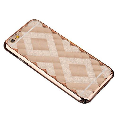 Cuitan 2 in 1 3D Eis Diamond Hülle Schutzhülle für Apple iPhone 6 / 6s (4,7 Zoll), TPU Weich Innen Hülle und PC Harte Rahmen Bumper Transparent Durchsichtig Rück Abdeckung Back Cover Case Handytasche  Rose Gold