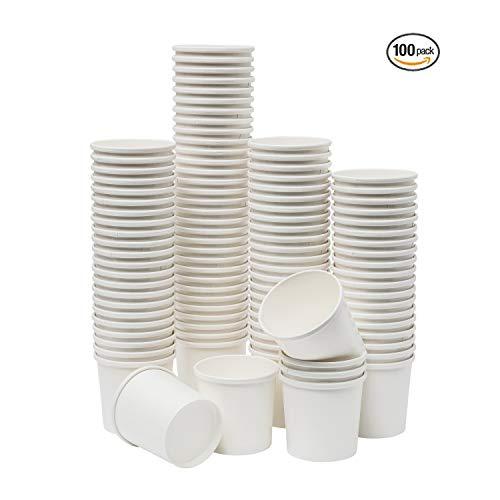isbecher aus Papier, Einweg-Dessertschalen für heiße oder kalte Speisen, Partyzubehör Leckerlibecher (100 Stück, weiß) 16 oz weiß ()