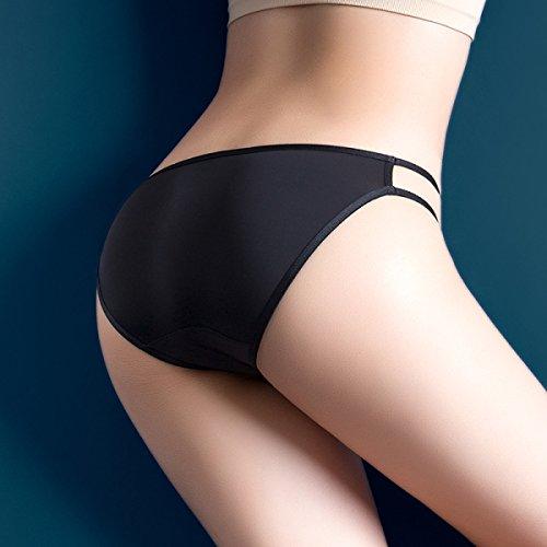 POKWAI Frauen-reizvolle Unterwäsche-Eis-Silk Hohle Low Waist Transparent Dünnes Garn Garn Mädchen Slip Cotton Schrittgurt Black