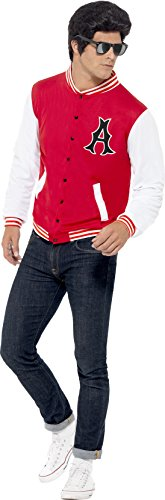 (Smiffy's 43705 - 50 College Jock Letterman Jacket, Rot (Red), Gr. L)