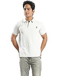 Basilio Men's SuperFine Cotton Fabric Polo Neck Solid T-Shirt-L - B0773QKZMW