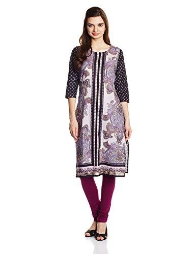 Rain and Rainbow Women's Straight Kurta (42005-SS/106-05_Purple_Large)