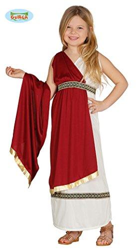 antikes Tiberia Römerin Kleid Karneval Party Kostüm Kinder rot beige Gold Gr. 110 - 146, Größe:122/128