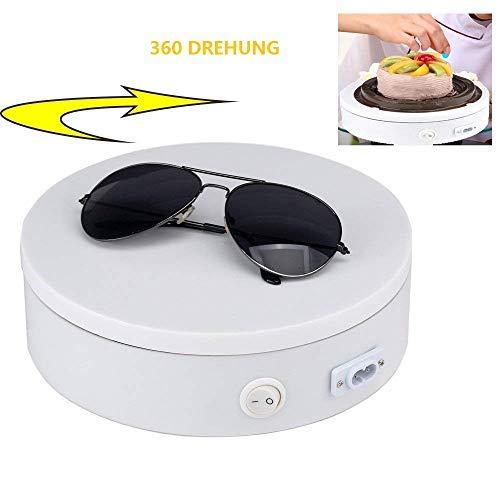 Yuanj Elektrisch Rotierende Drehteller-360 Grad-elektrische drehende Anzeigen-Geeignet für die Präsentation von Schmuck, Uhren, digitalen Produkten, Parfums, Taschen und Sammlerstücken-Weiß